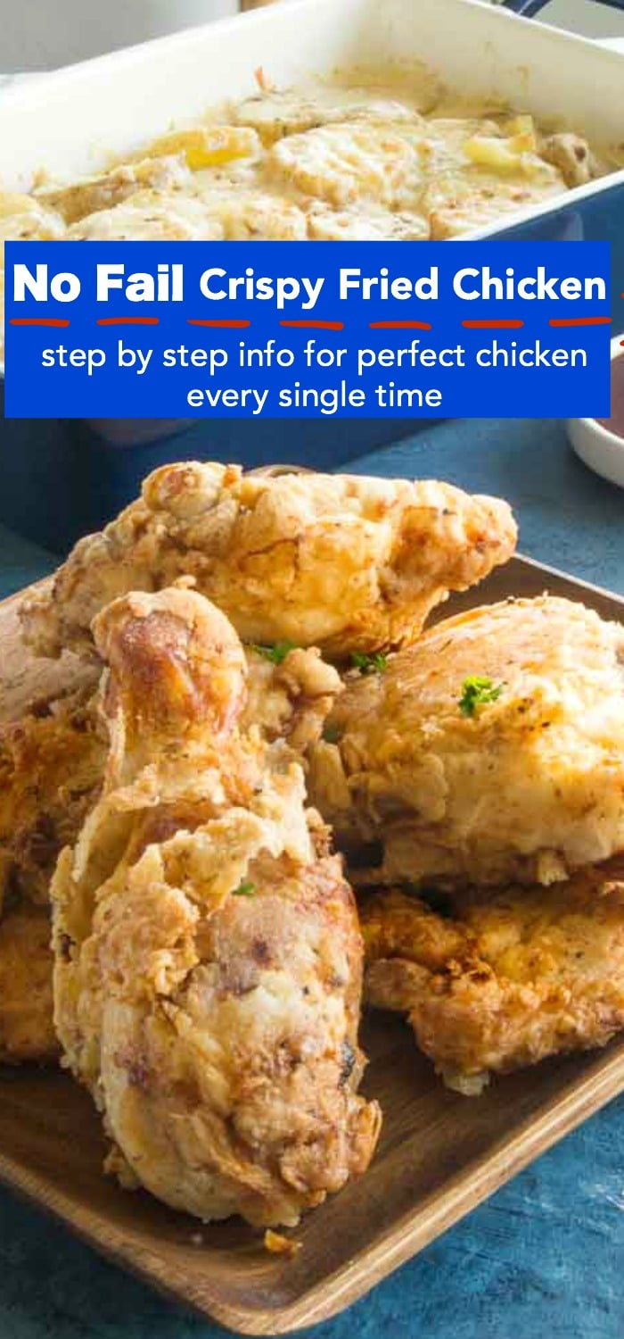 Crispy Southern Fried chicken with step by step instructions for perfect crispy coating on the outside and juicy flavor infused chicken inside. Perfect for BBQ's, picnics or just easy entertaining dinners