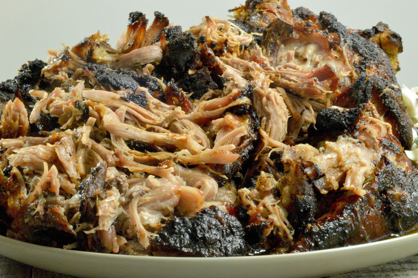 Pulled Pork Roast Shredded with charred edges