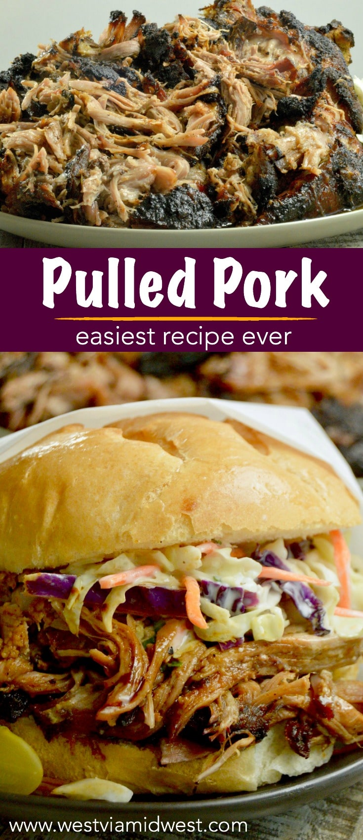 Pulled Pork, one pan all day cooking yields fork tender, pull apart meat that melts in your mouth.  Ideal comfort food for all fall entertaining. #pulledpork #onepanmeal