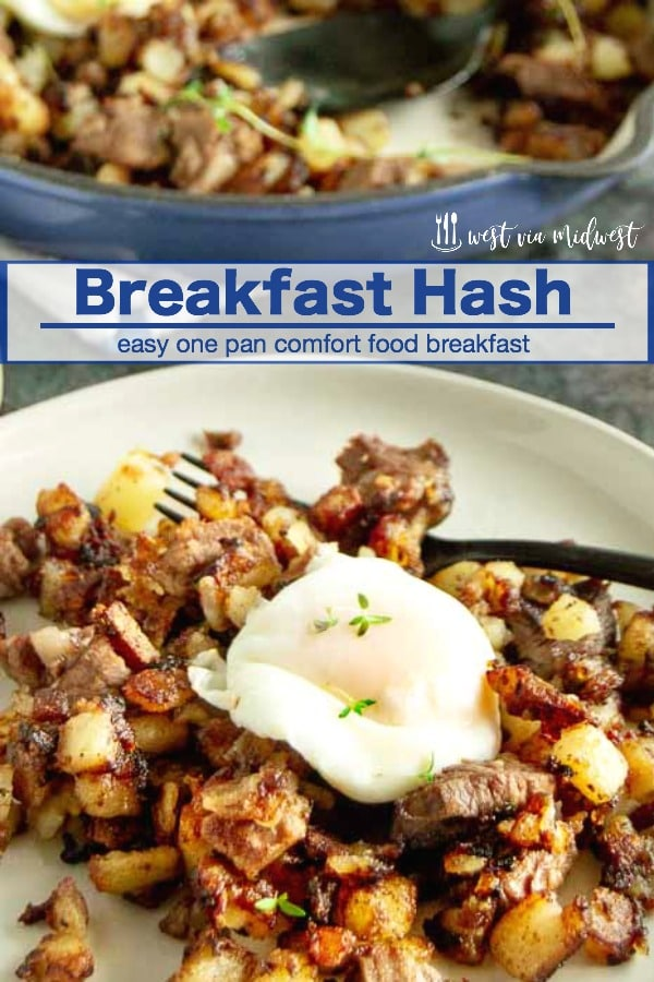 This EasyBreakfast Hash Recipe is made from leftovers all in one pan. Completely customizable with crunchy potatoes, crispy onions and prime rib topped with eggs for brunch entertaining!. #brunch #largegroupbreakfast #breakfast #eggs #hash #breakfast hash