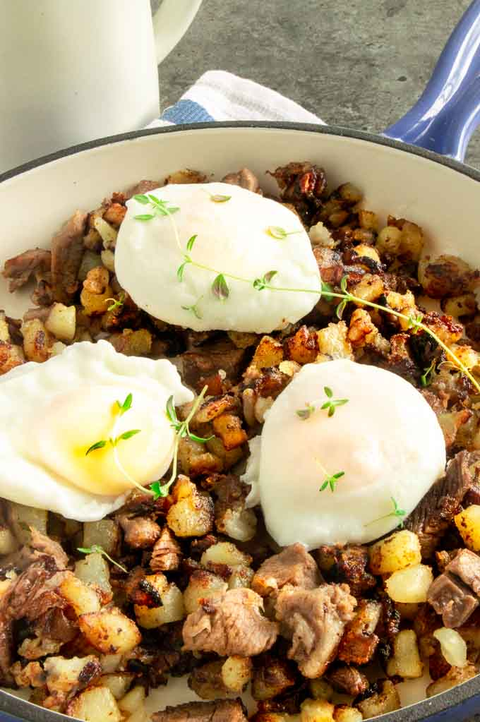 Breakfast hash recipe made in one pan for easy entertaining.