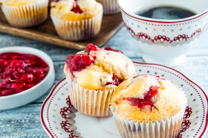 Fresh Strawberry Muffins with coffee and fresh strawberries