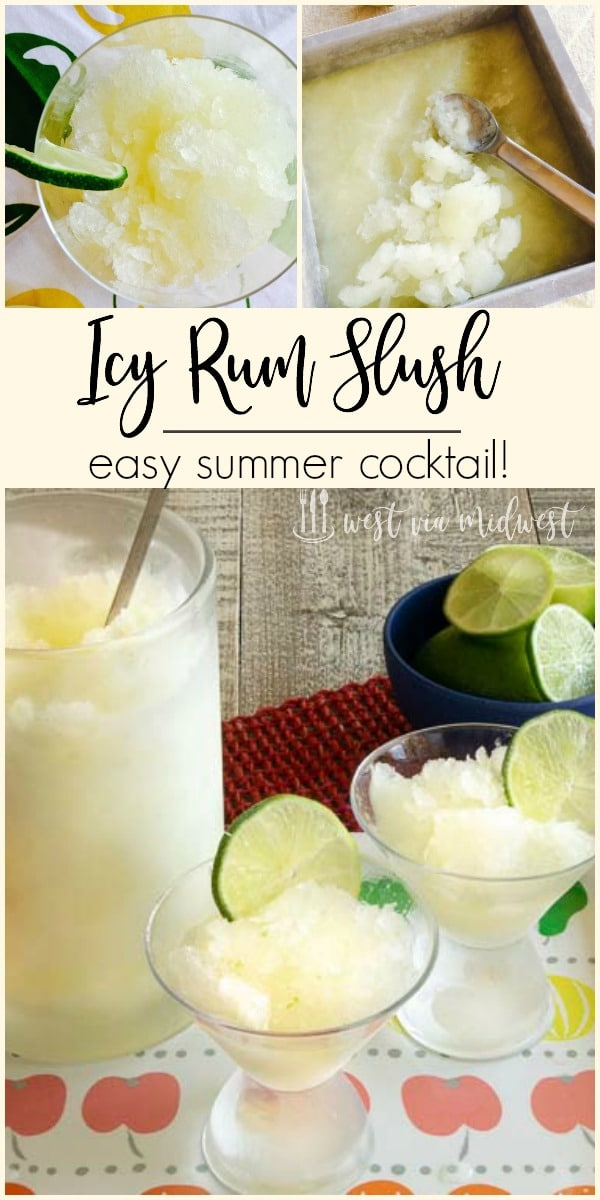 Icy rum slush ready to serve from a table in a pitcher and in glasses