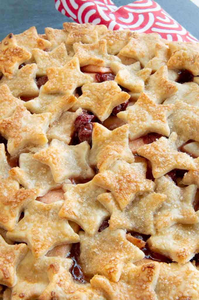 Fresh Baked Star Topped Cherry Apple Pie
