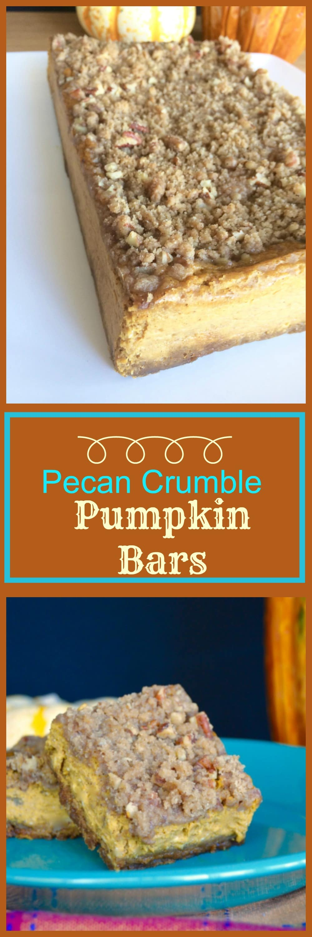 These Crunchy Pecan Crumble Pumpkin pie bars will tide you over until Thanksgiving and the traditional Pumpkin Pie. Easy to make, they have great texture(creamy and crunchy) and are very satisfying!