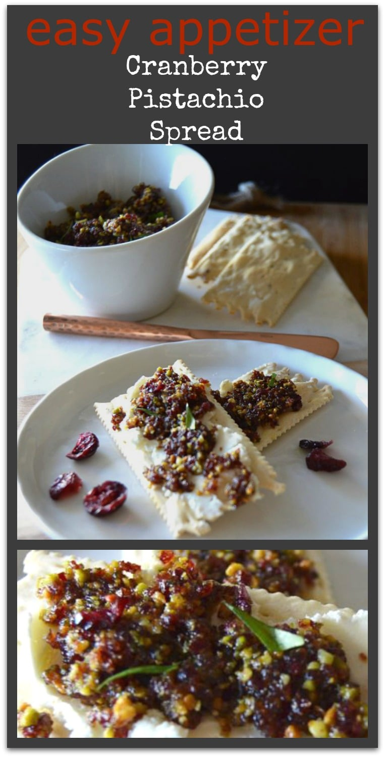 Looking for a festive spread for the holidays? This Cranberry Pistachio spread is not only easy peasy, but bursting with flavor and just the thing for a simple appetizer. Spread it on your favorite cracker and it's a mouthful of deliciousness. www.westviamidwest.com