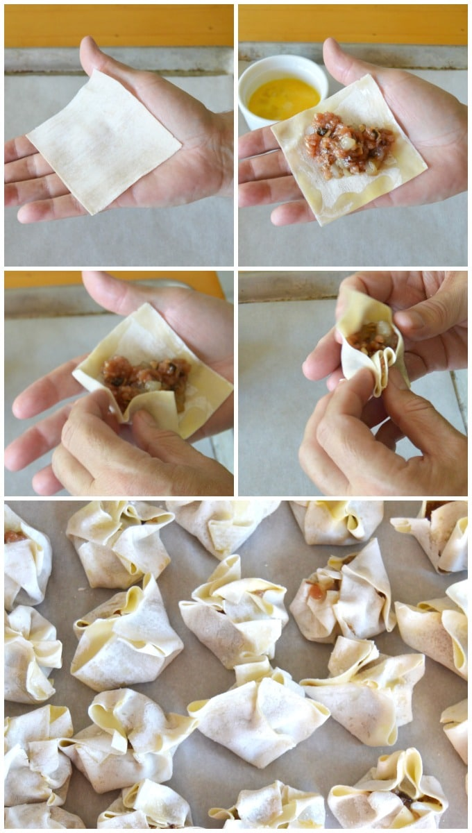 Step by step process of making the Chinese dumpling.
