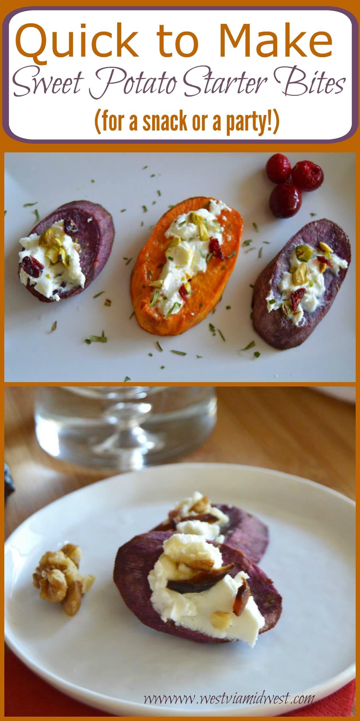 Need an appetizer that is truly the easiest thing ever and tastes like you put a lot of effort into it? These Sweet Potato Starter Bites fit the bill. They are easy to make, can be put together in about a half an hour (which includes 20 minutes of baking time) and are really versatile.