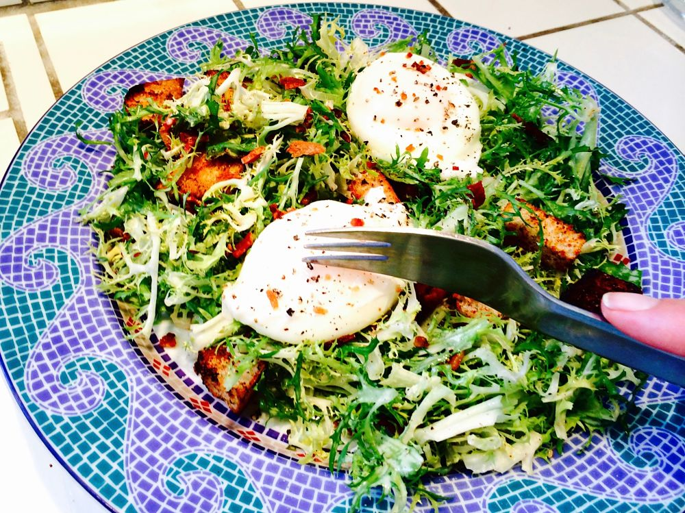 Bacon & Eggs Frise Salad When you want a substantial salad but don't want a lot of fuss. This recipe for Bacon and Eggs Frise' Salad will fill you up and not break the calorie budget! www.westviamidwest.com