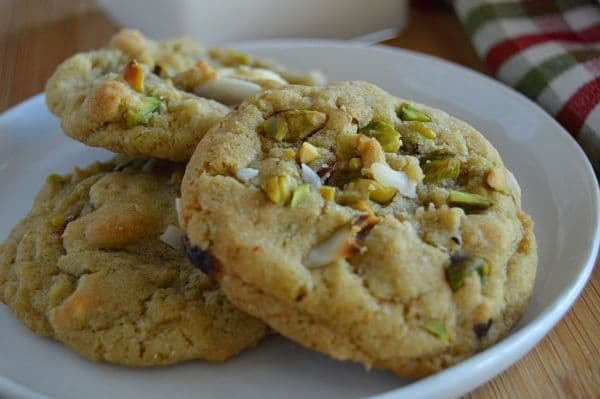 Tropical Christmas Cookies These are the perfect cookies to make to gift all of your favorite people during this holiday season. They are festive looking with green pistachios and dried red cranberries. Throw in white chocolate and freshly toasted coconuts with a dash of lime zest and you have the flavors of celebrating Christmas on a tropical island!