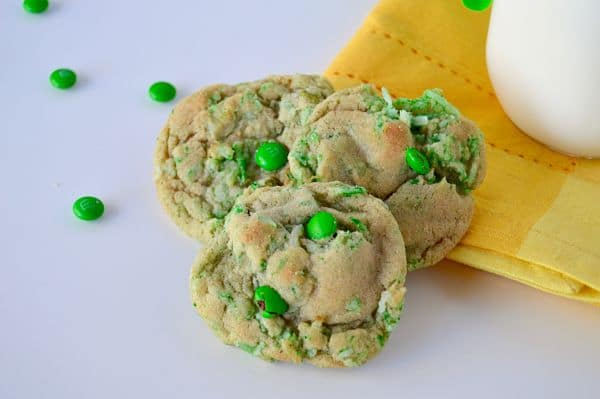 Green St. Patrick's Day cookies are an easy moist cookie packed with lots of festive green coconut. The same dough can be dyed bright green adding contrasting white chocolate to make it a showstopper.