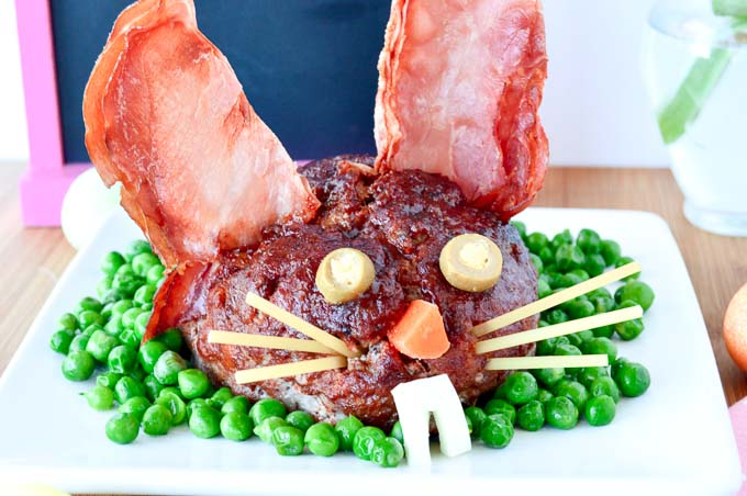 Close up of the face of Easter Bunny Meatloaf for the Easter Table