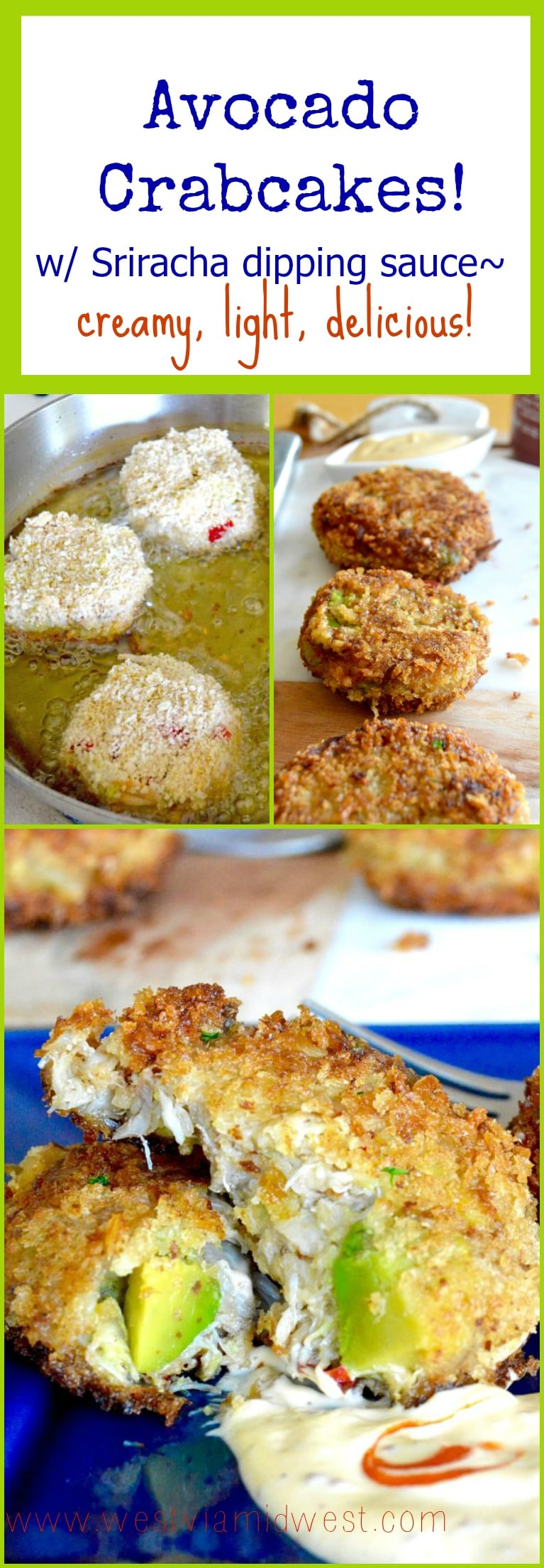 Avocado Crab Cakes sends an ordinary crab cake right off the charts! This recipe has big chunks of crab mixed with cubes of fresh avocado that gives a creamy, full flavor bite! Dip it in a Sriracha dipping sauce for added zing!