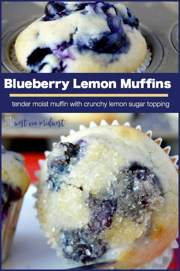 Blueberry Lemon Muffinsare moist on the inside, packed full of juicy blueberries in every bite. The top is crunchy with glazed lemon butter dipped in sugar. Perfect for taking on the go, getting together with friends or to serve at a morning meeting.