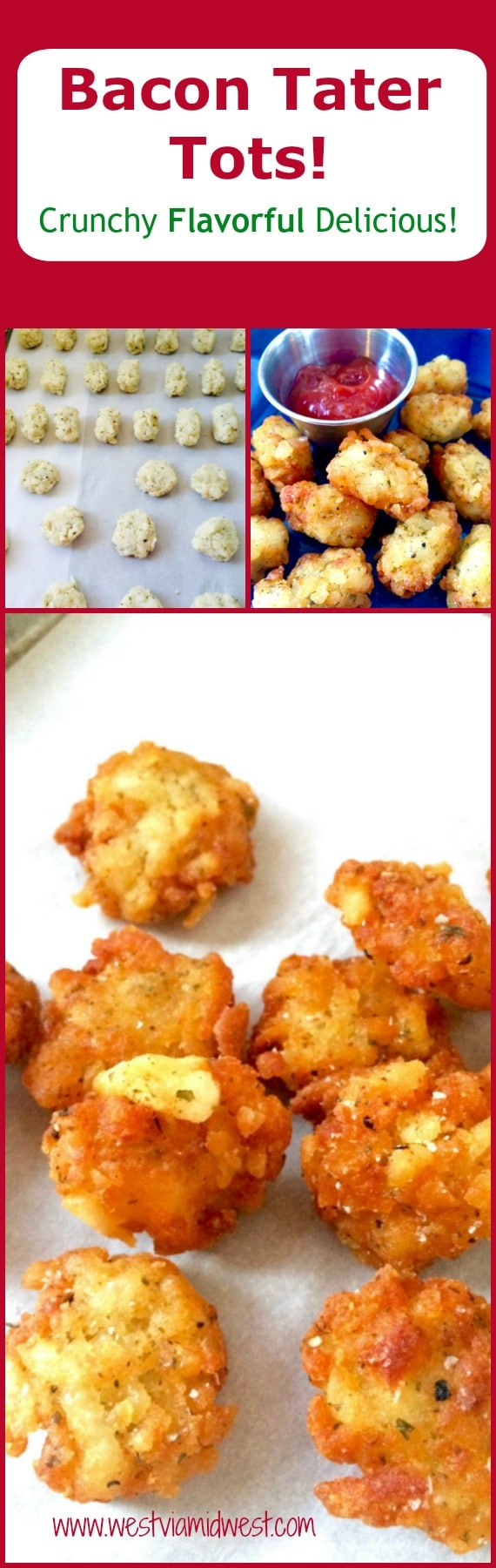 Crunchy Bite Sized Bacon Tots will be the hit of your next get together. Whether served as an appetizer or a side dish you will LOVE these crunchy, bacon filled tots. Better than your average tot because it has Bacon in it too!