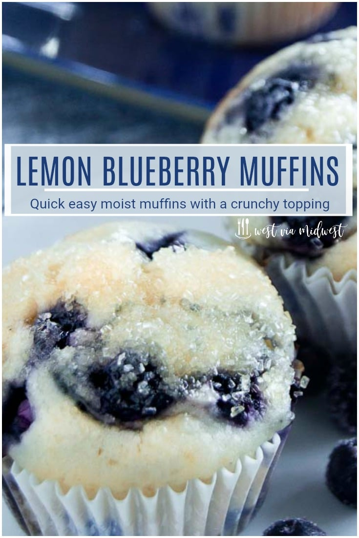 Lemon Scented Blueberry  Muffins are moist on the inside, packed full of juicy blueberries in every bite. The top is crunchy with glazed lemon butter dipped in sugar. Perfect for taking on the go, getting together with friends or to serve at a morning meeting.