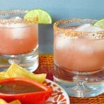 A change up from the classic cocktail this Amped up Watermelon Margarita with a kick is bursting with the fruit flavor muddled with lots of lime juice but the first taste you get is the chili lime salt which gives the drink a nice kick! (non-alcoholic option too!)
