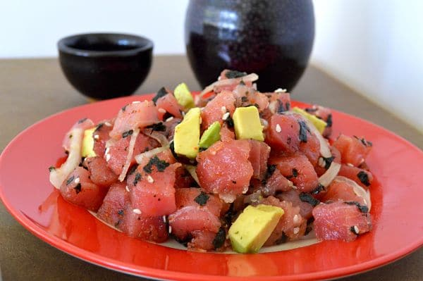 Avocado Tuna Poke recipe: A restaurant quality dish that will thrill all who have it. Creamy avocado along with fresh tuna, stirred together with sesame and soy. It's healthy and delicious!