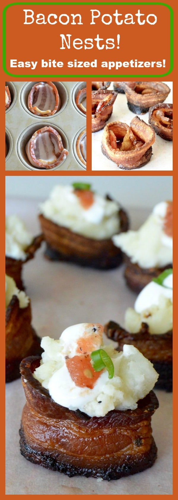 Bacon Potato Nests: Crispy bacon shaped into a basket, filled with creamy potatoes topped with a small dab of salsa, the perfect appetizer to prep the night before then assemble as your guests are arriving!