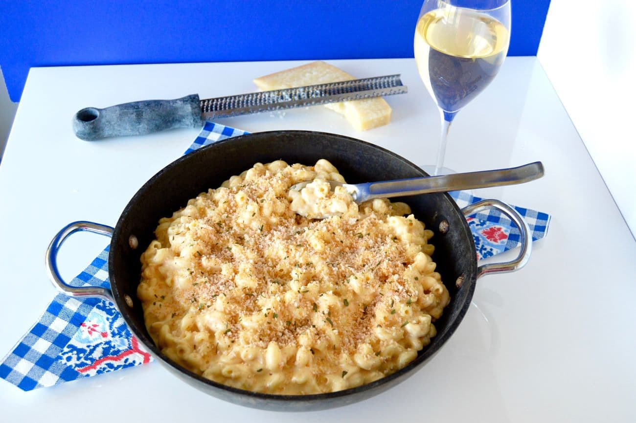 "This Gouda mac n Cheese actually has 2 kinds of gouda and a surprise cheese too! The creamy, smokiness of the gouda combined with the more ""tart"" goat cheese will become a family favorite! (the fact that it takes less than 20 minutes to make is a bonus too!)"