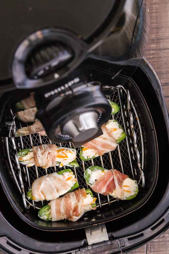poppers in the basket of the air fryer