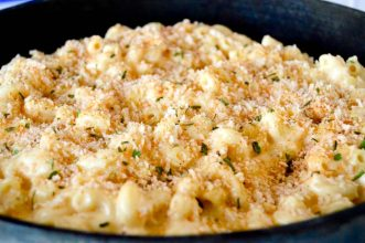 Close up of one pan gouda Mac and cheese with bread crumb topping