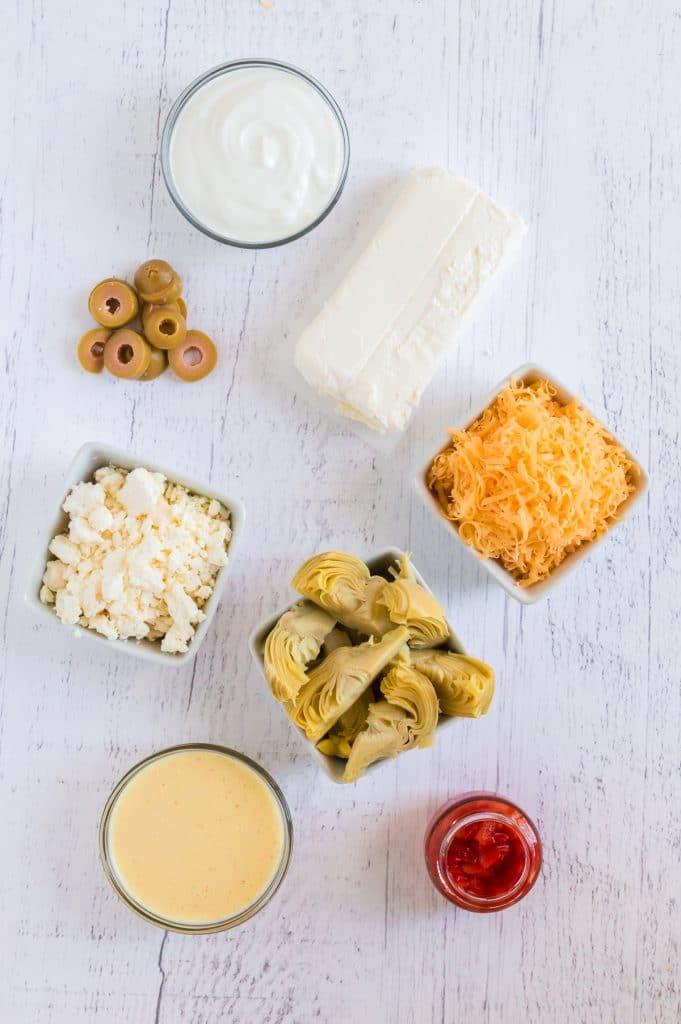 Ingredients for feta artichoke dip