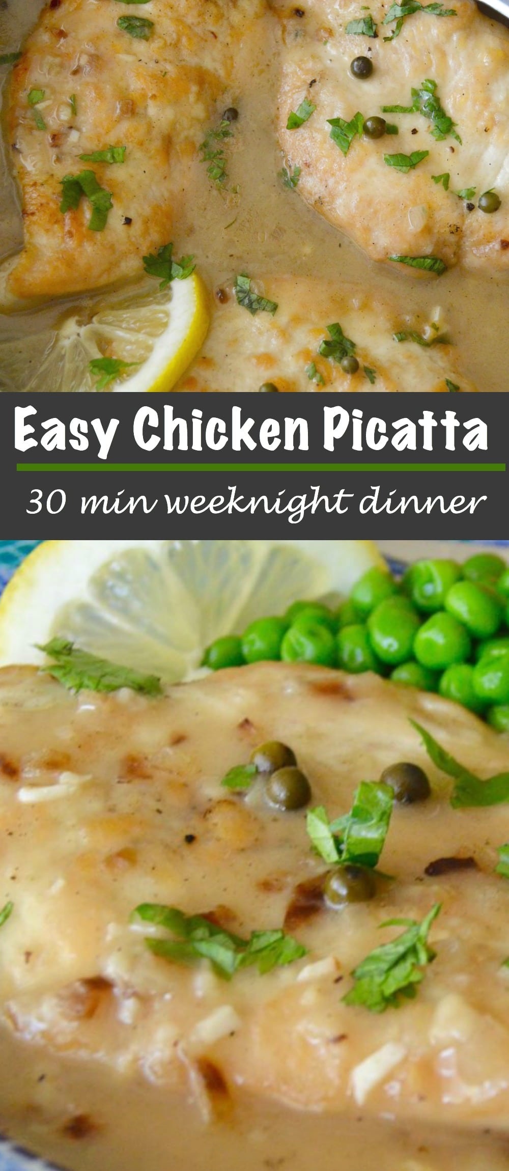 Easy Healthy Comfort Food: Chicken Picatta, an easy weeknight dinner recipe that you can make in less than 30 minutes! Perfect for weeknight entertaining too!