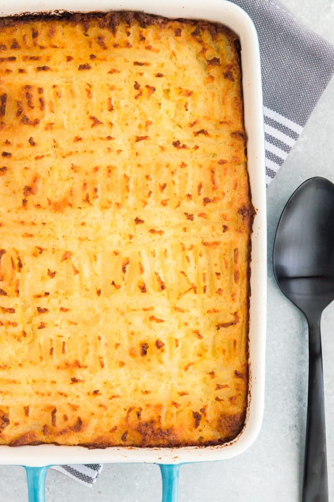 Baking dish with cottage pie casserole in it
