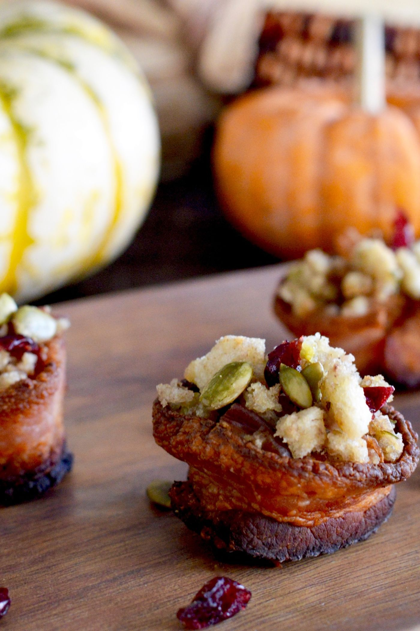 Leftover Stuffing Bacon cups will use up all your leftover stuffing! Make bacon cups, spoon the stuffing in, top with some cranberries and nuts and you have a delicious bite sized snack!