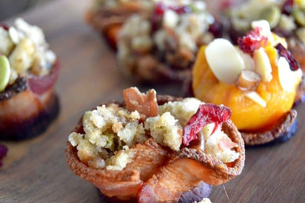 Leftover Stuffing Bacon Cups