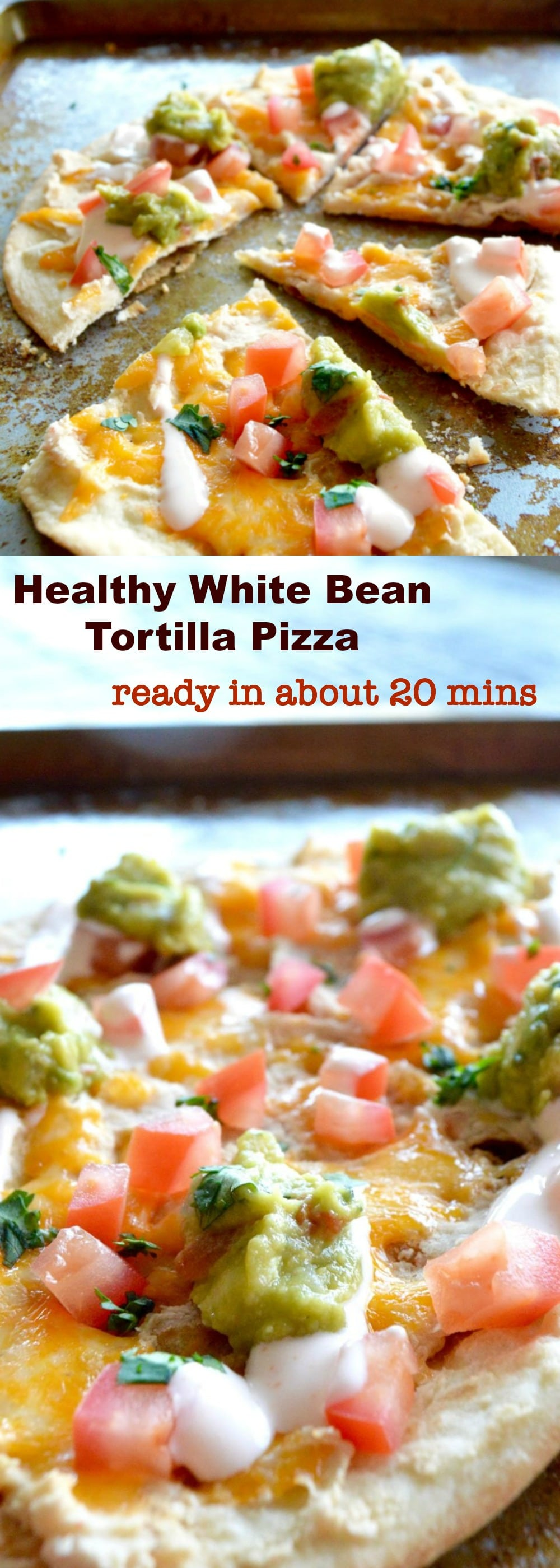 Appetizer, Pizza, A healthier appetizer option that you can make in less than 30 minutes.  Crispy tortilla crust, topped with smooth beans, fresh guacamole, cheese and tomatoes!