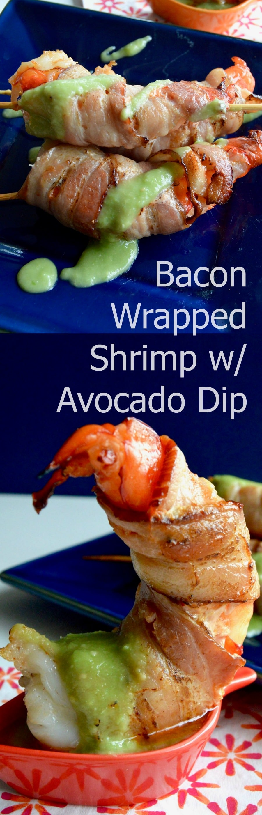 Succulent shrimp, wrapped in bacon broiled to perfection then served on skewers with a healthy avocado salsa! |appetizer|pollo loco copycat|