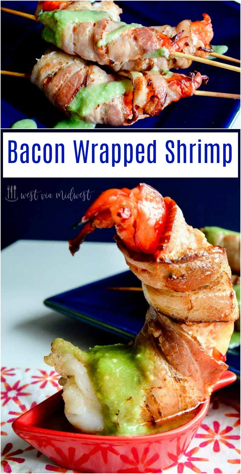large shrimp in bacon dipping in avocado