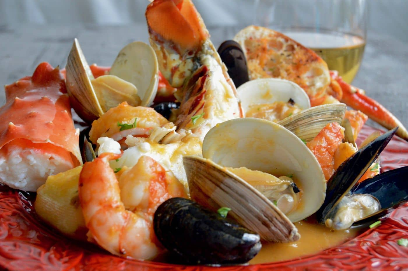Fancy Bouillabaisse is full of shrimp, lobster, crab and all the good things that make a great romantic meal! Ready in less than 45 minutes is just a bonus!