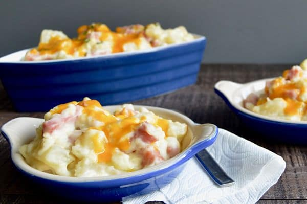 Gouda Ham and Potato Casserole is pure comfort food. Melty Gouda Cheese wrapped around potatoes and ham gives warmth and satisfaction in every bite!