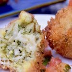 Pesto Pasta Cheese Stuffed croquettes are crunchy outside, oozing with melty cheesy pasta in the center. Warm, comforting and filling so you can easily make one batch for a party!