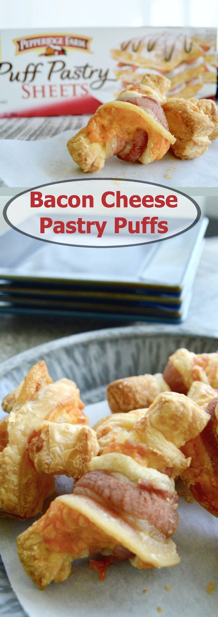 Bacon Cheese Pastry Puffs can be made quickly and with things you already have in your fridge.  Cheesy in the center, wrapped with bacon each  puff pastry bite is jammed full of flavor.