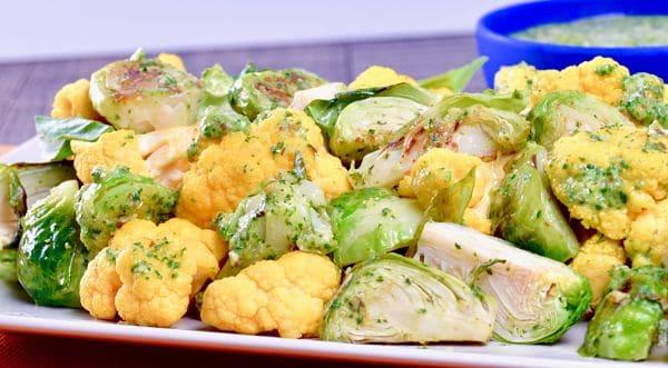 Creamy Salsa Verde Pistou Roasted Vegetables