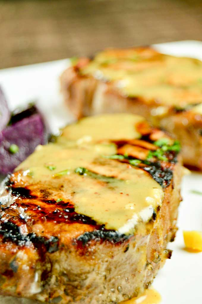 Honey Mustard Marinated Grilled Pork Chops