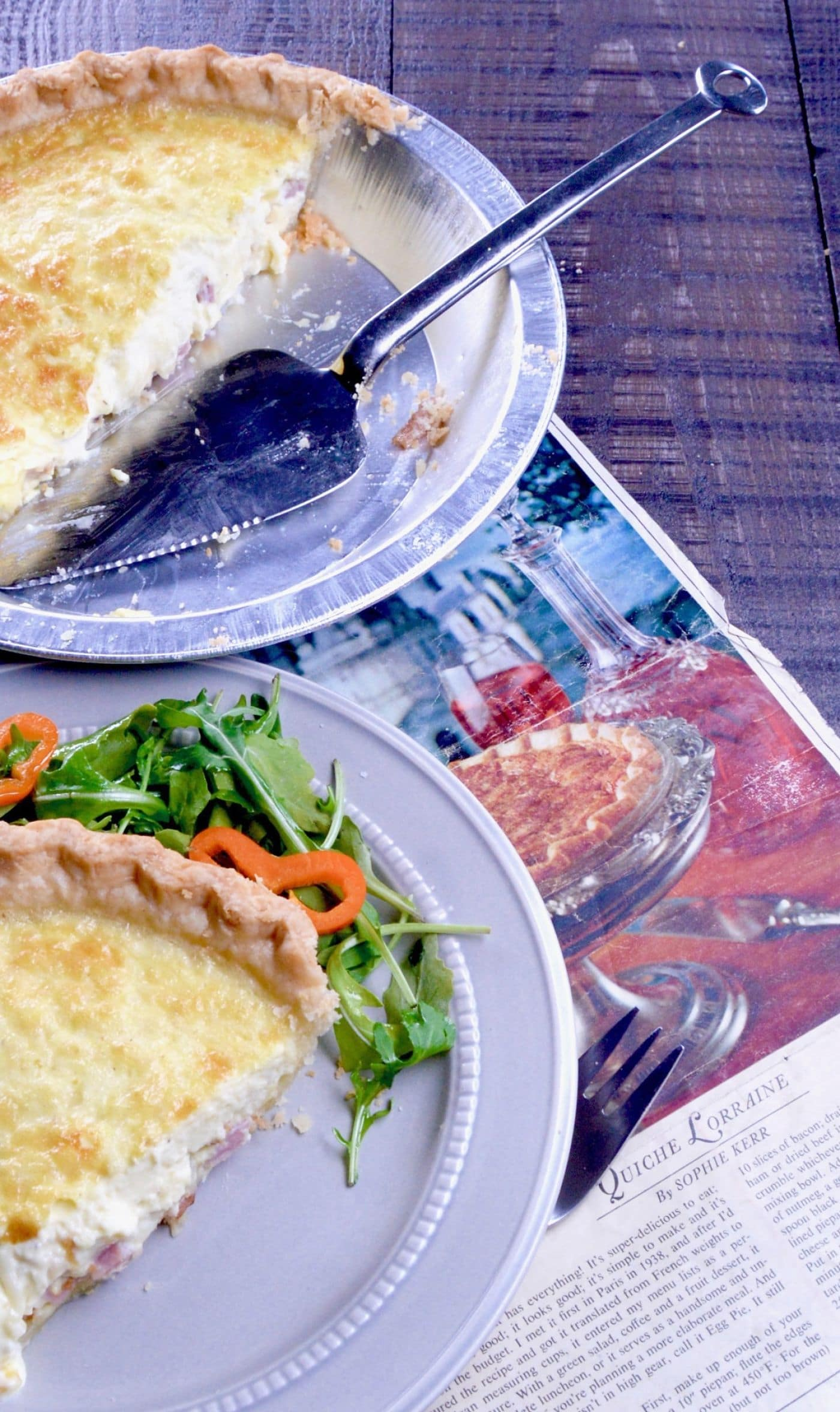 No Fail Quiche Lorraine, an easy yet impressive recipe shown along side 1965 Magazine from Woman's day.