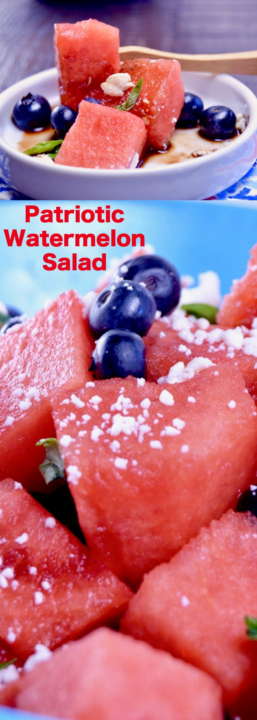 Refreshing Watermelon Salad, the perfect BBQ side dish. Ready in 15 minutes with bursts of citrus with tart feta cheese drizzles with a sticky honey balsamic glaze.