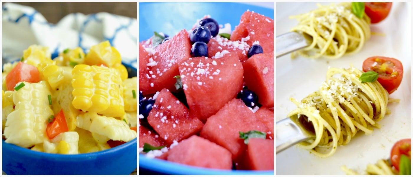 Chili Lime Sweet Corn Salad, Patriotic Watermelon Salad, Pesto Pasta Salad