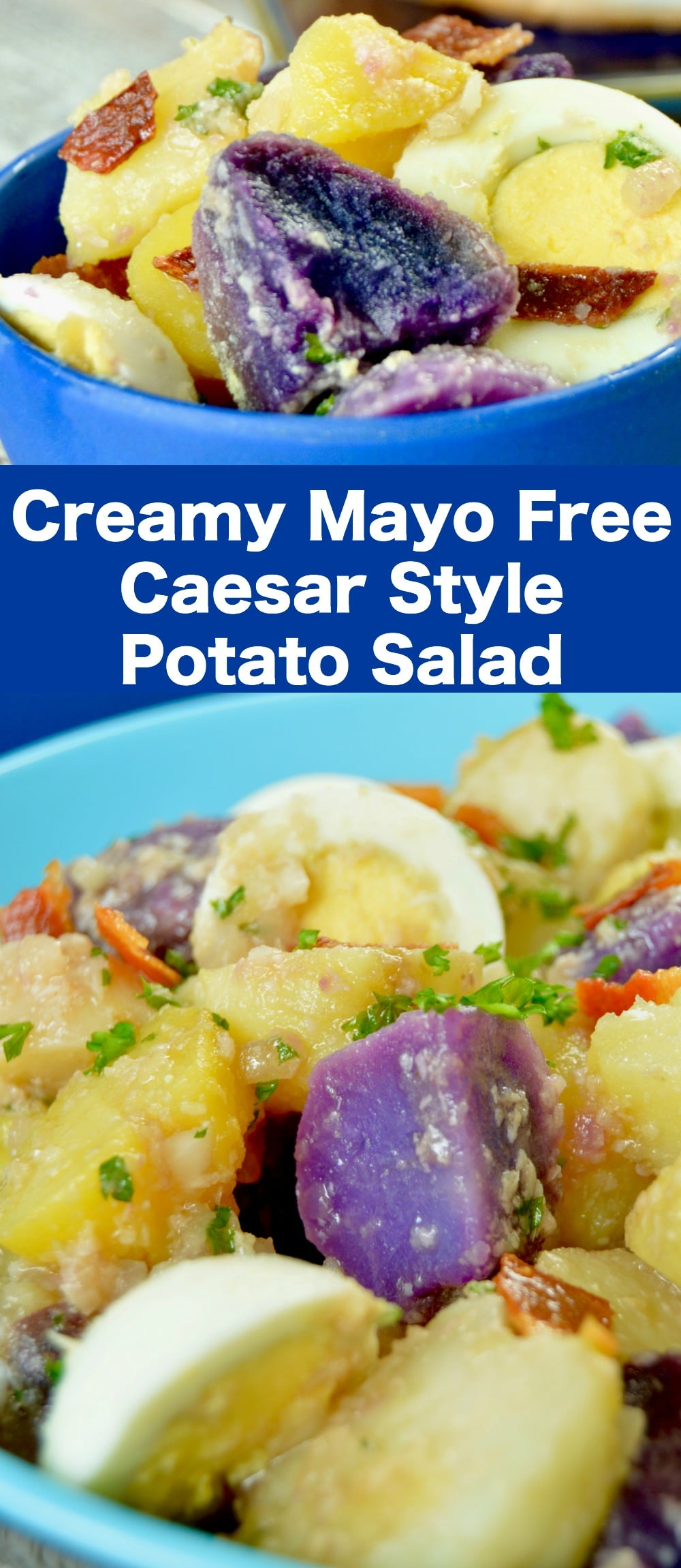 With three kinds of tender potatoes, this Creamy Mayo Free German Potato Salad is loaded with parmesan cheese and bacon. Perfect for a grilled dinner, summertime meal or to bring to a picnic.