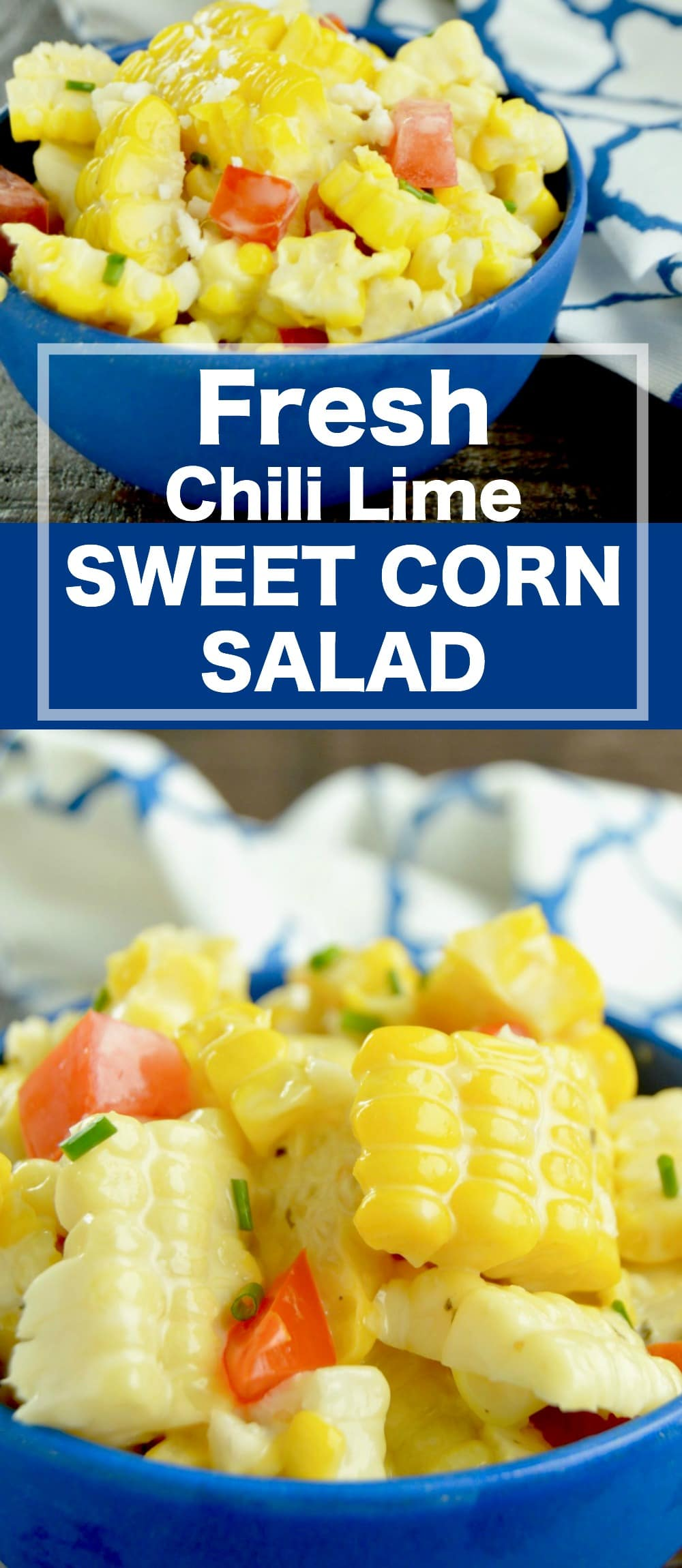 Fresh Chili Lime Sweet Corn Salad is THE ideal BBQ side dish to bring for any party this summer!  Sweet, succulent corn, fresh juicy tomatoes blended with a cold chili lime dressing.