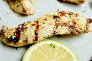 Close up of Chili Lime Chicken, flavorful, tender chicken perfect for grilling!