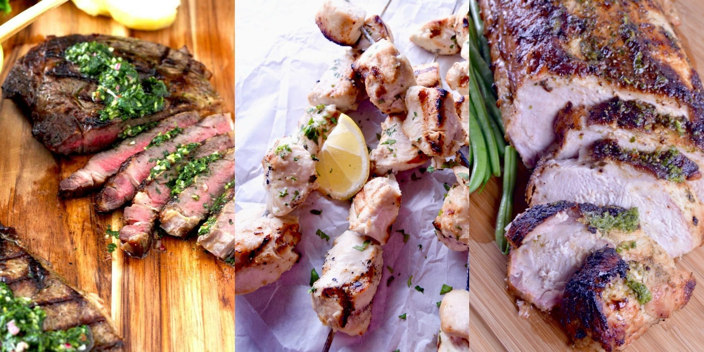 Steak w/ Chimichurri - Grilled Coconut Lime Skewers - Cuban Mojo Pork