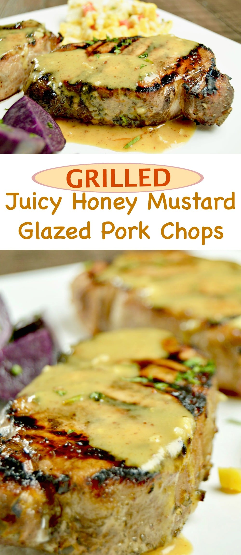 Juicy Grilled Honey Mustard Glazed Pork Chops Recipe is the no fail way to make succulent, tender chops.  Marinate for 30 minutes, grill and have them on the table in about 20 minutes.  Perfect for Entertaining!