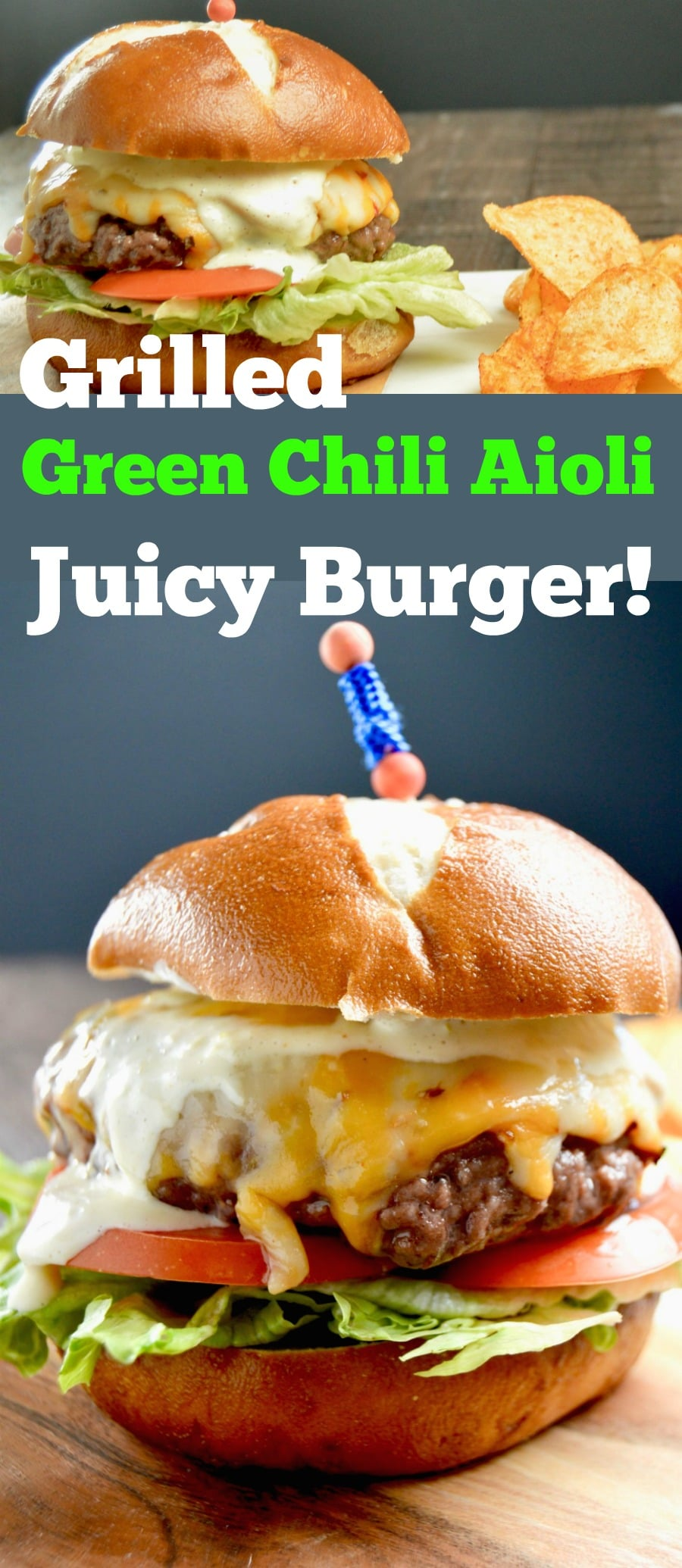 Topped with 3 pepper cheese and a slow heat, tangy green chili aoili give this Juicy Grilled Green Chili Aoili Cheeseburger something out of the ordinary for your next BBQ!