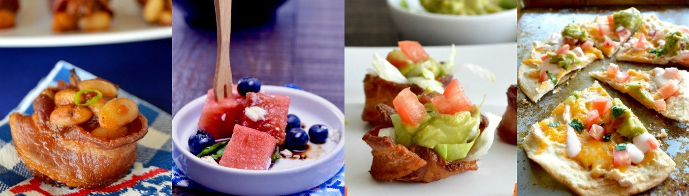 Healthier Pizza , BLT Bacon Cups, Watermelon Bites and Baked Bean Cups, other hot weather party foods